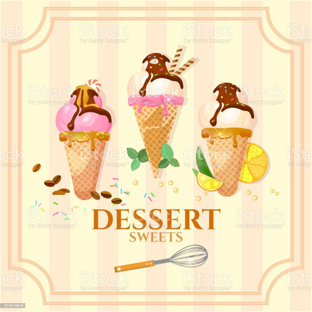 Vintage ice cream poster vector art illustration
