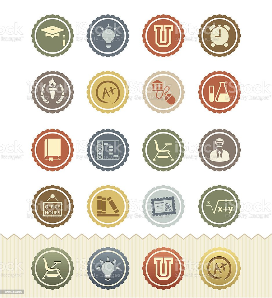 Vintage icons for topics from higher education vector art illustration