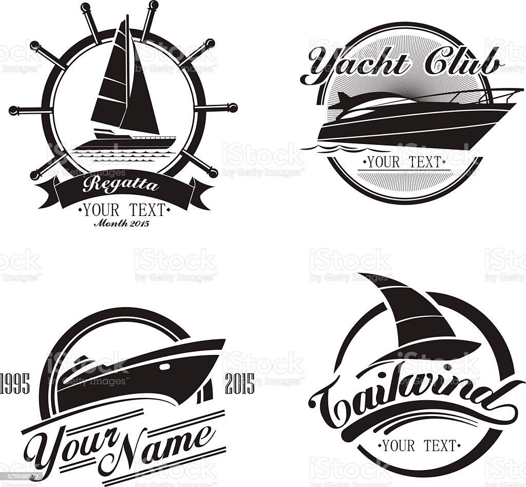 Vintage icons yachts and sailboats vector art illustration