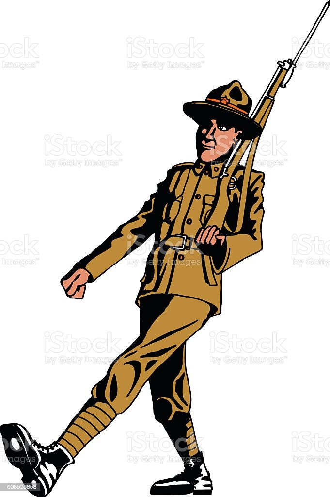 Vintage illustraion of an Anzac soldier isolated vector art illustration