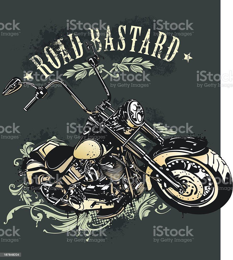 Vintage image of chopper motorcycle vector art illustration