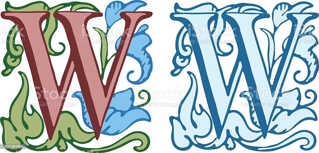 Vintage initials letter w vector art illustration