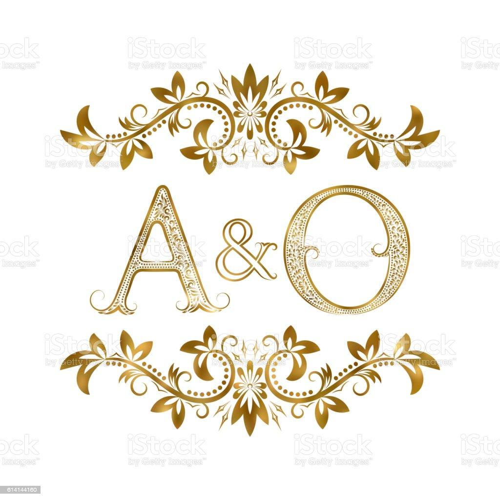 AO vintage initials symbol. vector art illustration