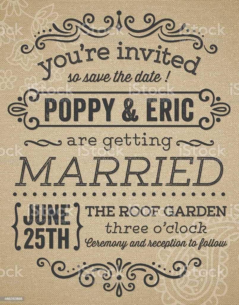 Vintage Inspired Wedding Invitation vector art illustration
