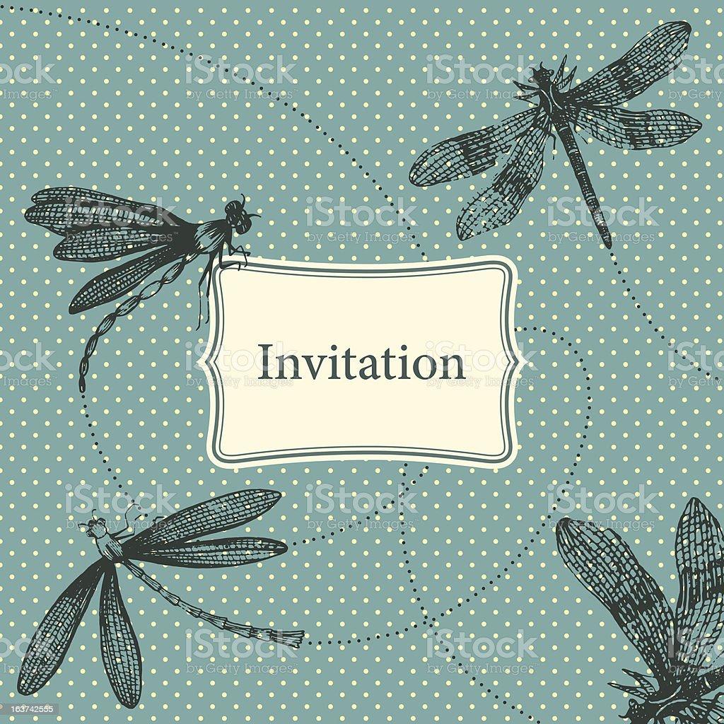 Vintage invitation card with dragonflies vector art illustration