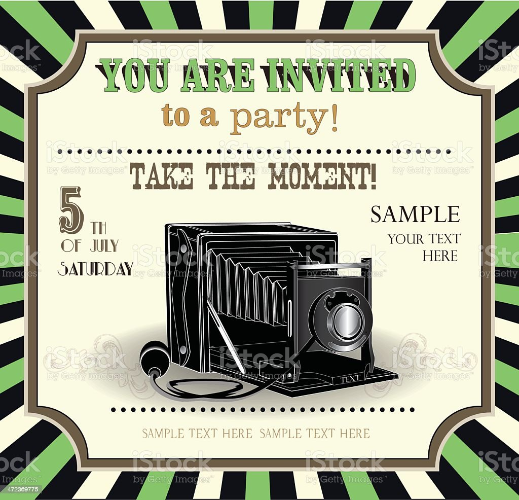 vintage invitation card with retro elements royalty-free stock vector art