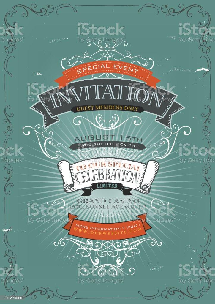 Vintage Invitation Poster Background vector art illustration