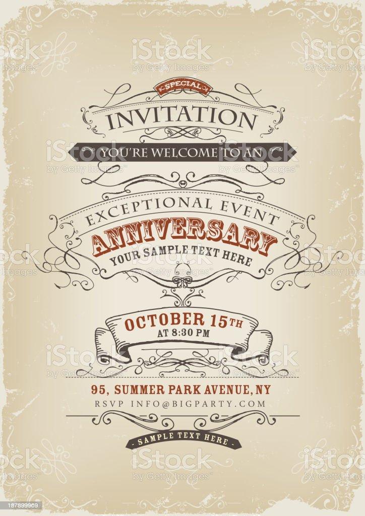 Vintage Invitation Poster vector art illustration