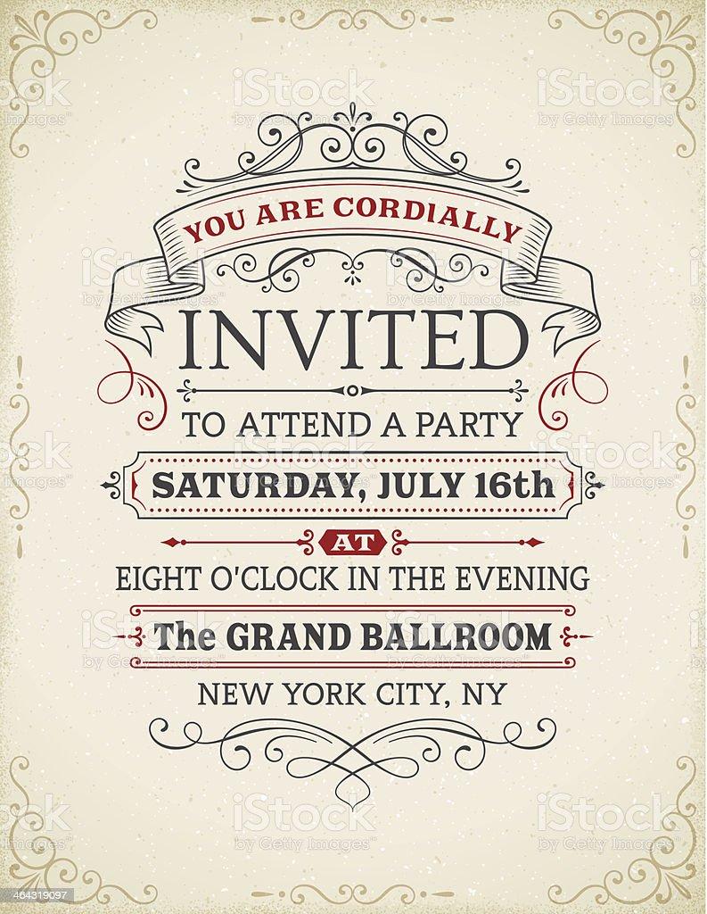 Vintage Invitation vector art illustration