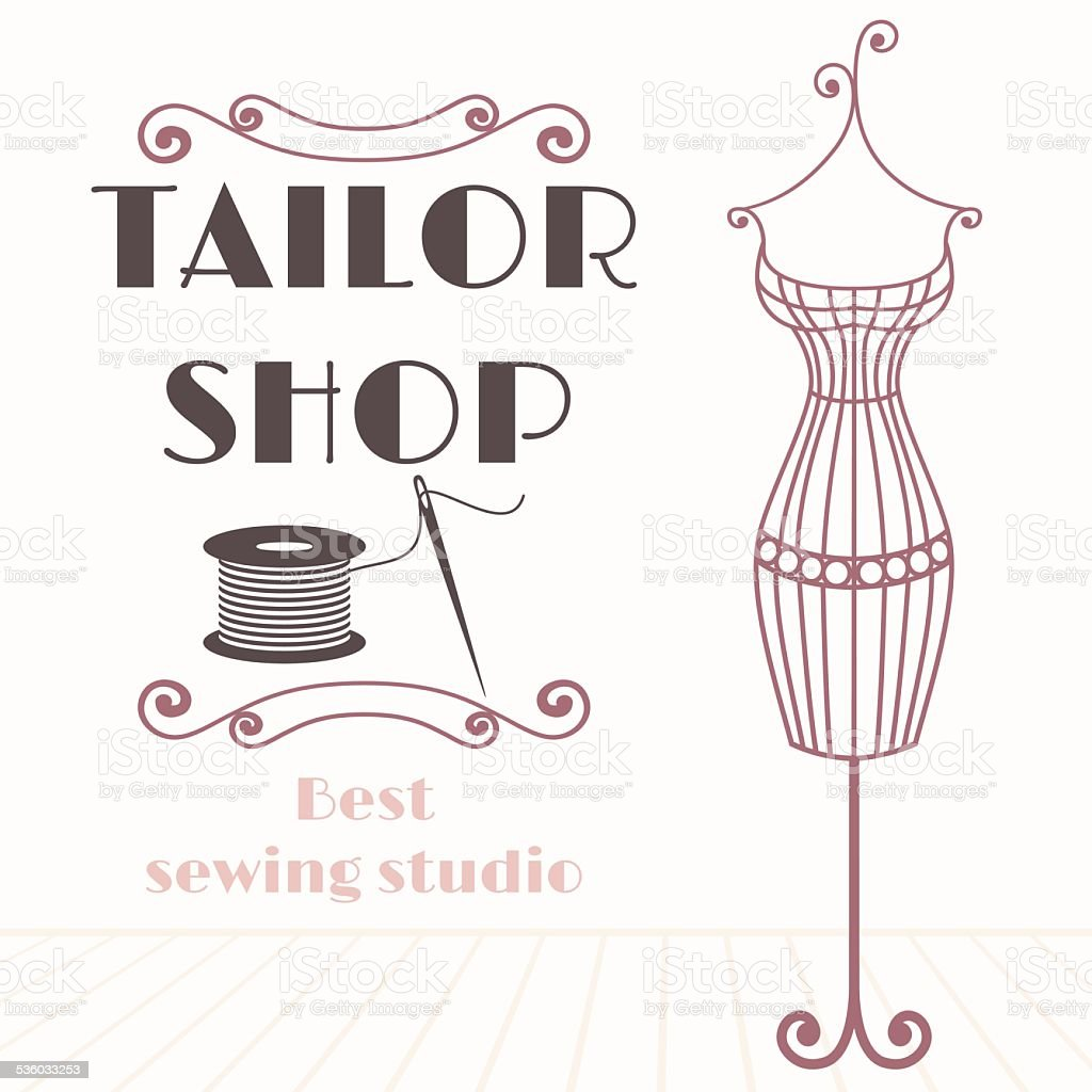 Vintage iron mannequin background with sewing icon vector art illustration