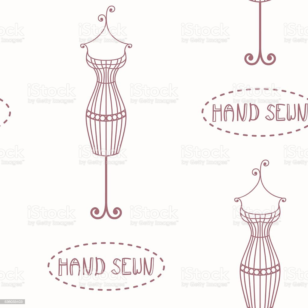 Vintage iron mannequin seamless pattern with inscription hand sewn vector art illustration