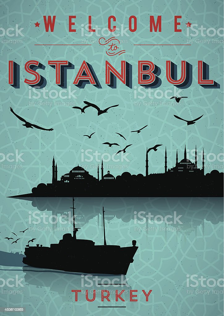 Vintage Istanbul Poster vector art illustration