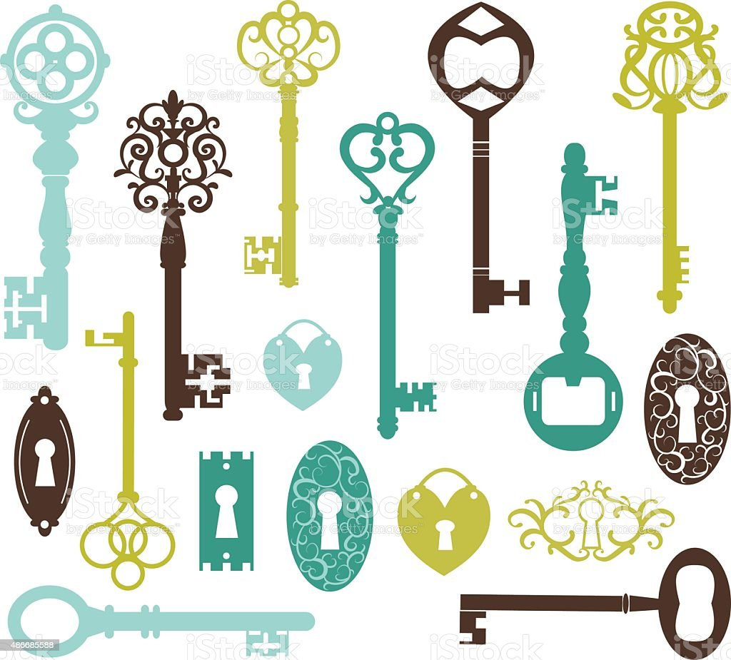 Vintage Keys Silhouette vector art illustration