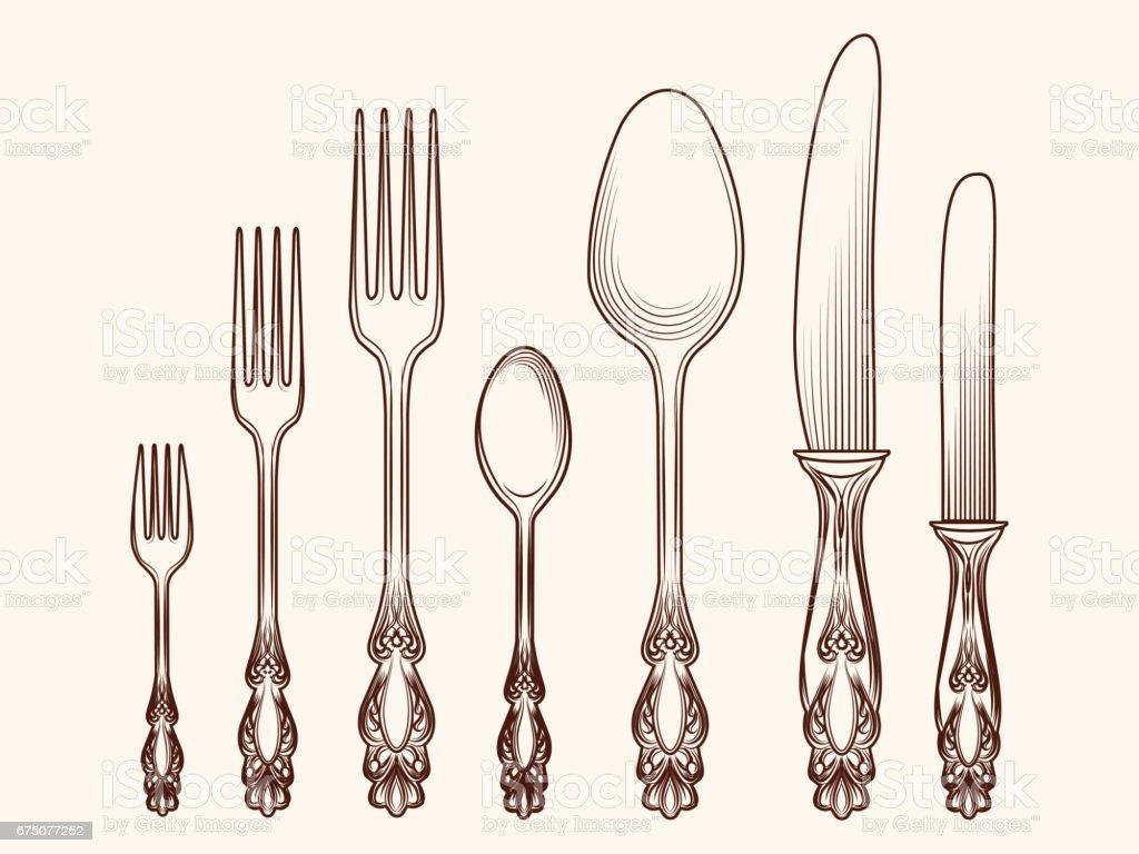 Vintage Kitchen Utensils Illustration drawing of a antique kitchen utensils clip art, vector images
