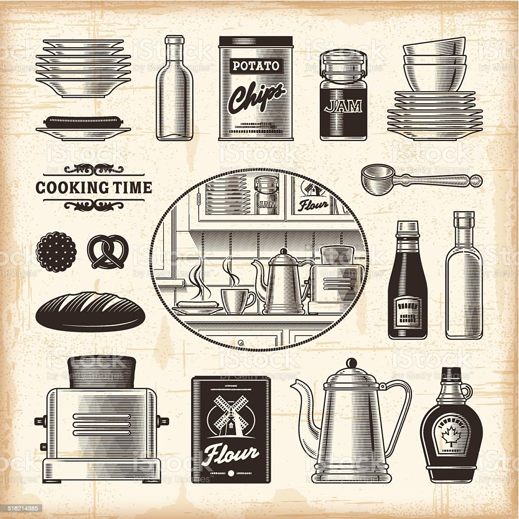 Vintage kitchen set vector art illustration