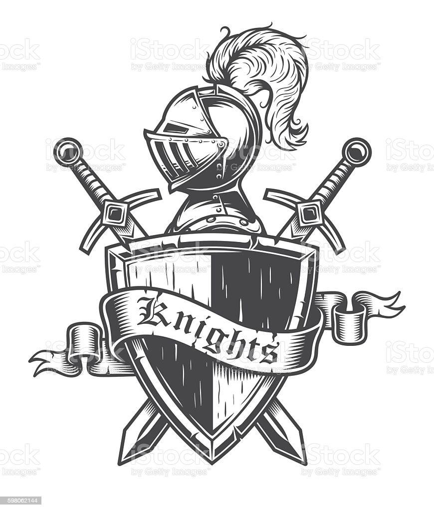 Vintage knight emblem vector art illustration