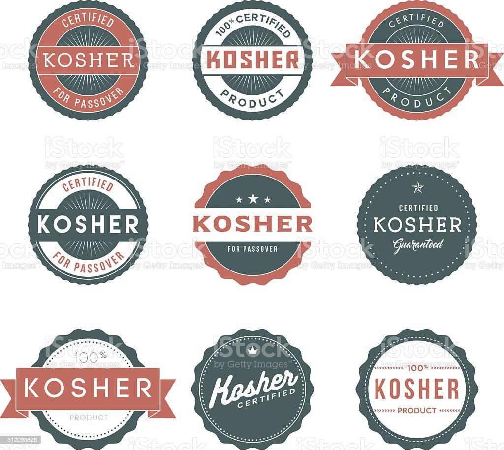 Vintage Kosher Food Labels Icon Set vector art illustration