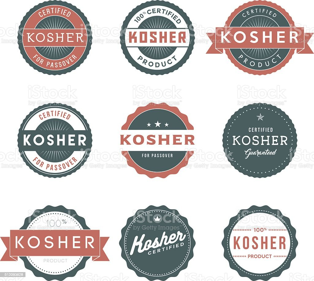 Vintage Kosher Food Labels Icon Set vector art illustration