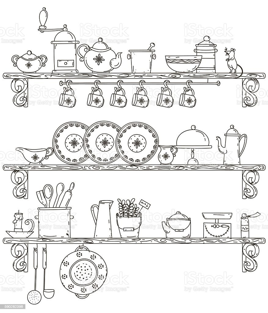 Vintage kuhnya.Polki with kitchenware. Vector illustration vector art illustration
