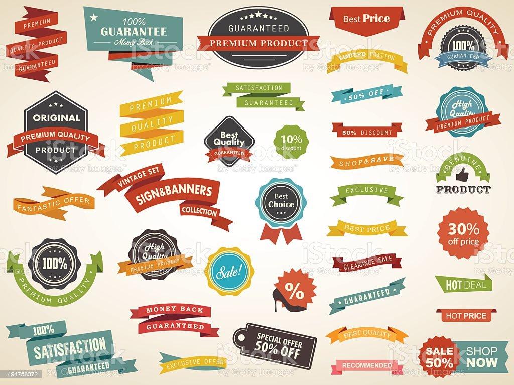 Vintage Label Banner Tag Sticker Badge Vector vector art illustration