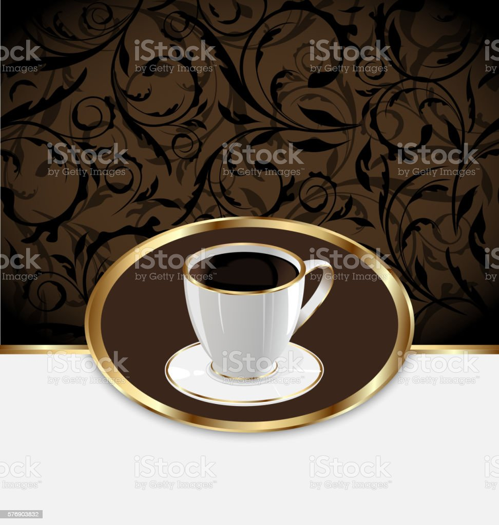 Vintage label for wrapping coffee cup vector art illustration