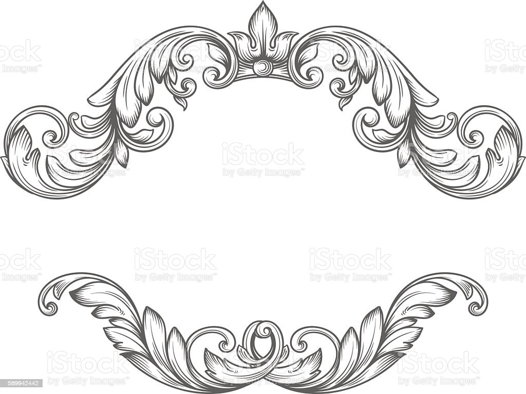 Vintage label frame design elements vector art illustration