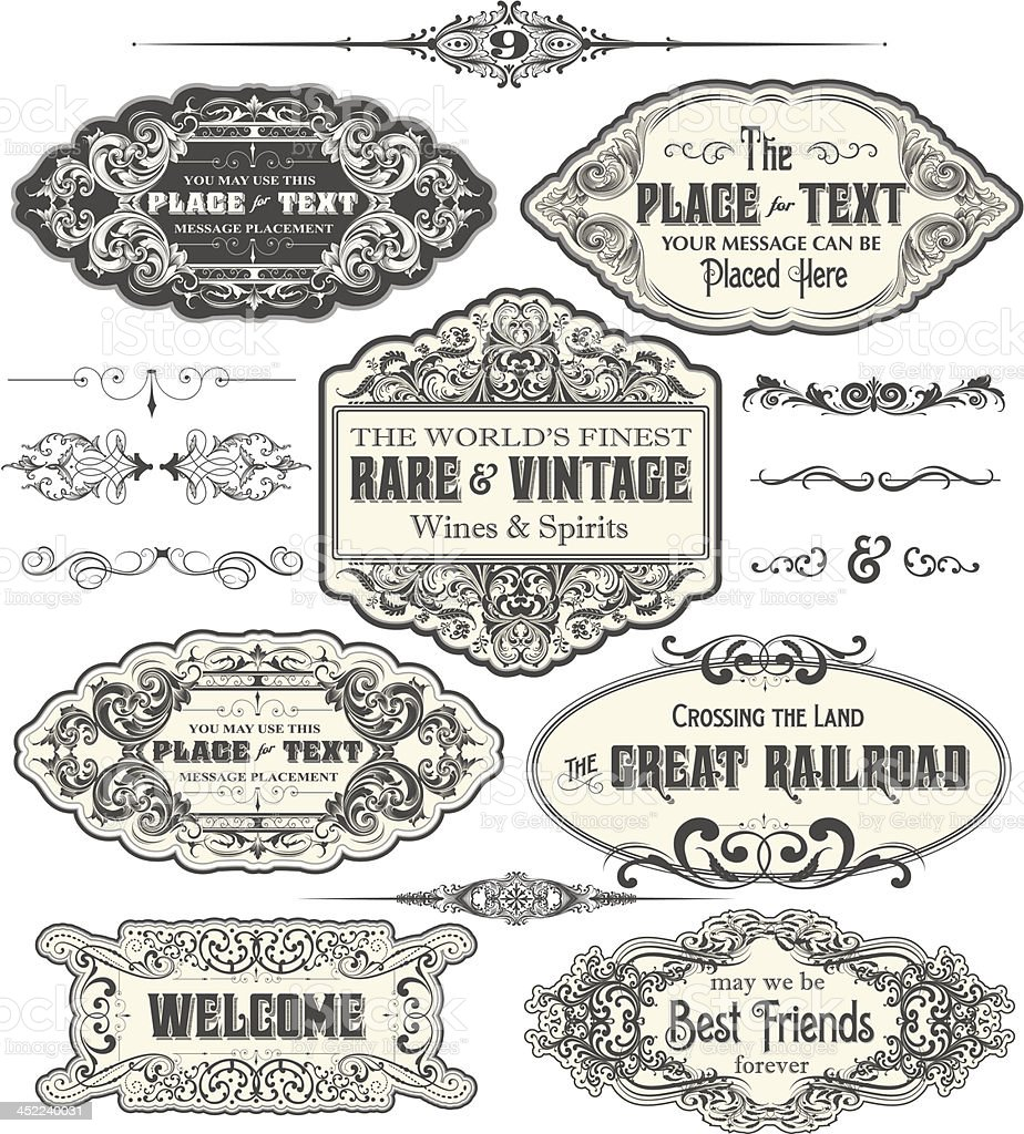 Vintage Label Frames vector art illustration
