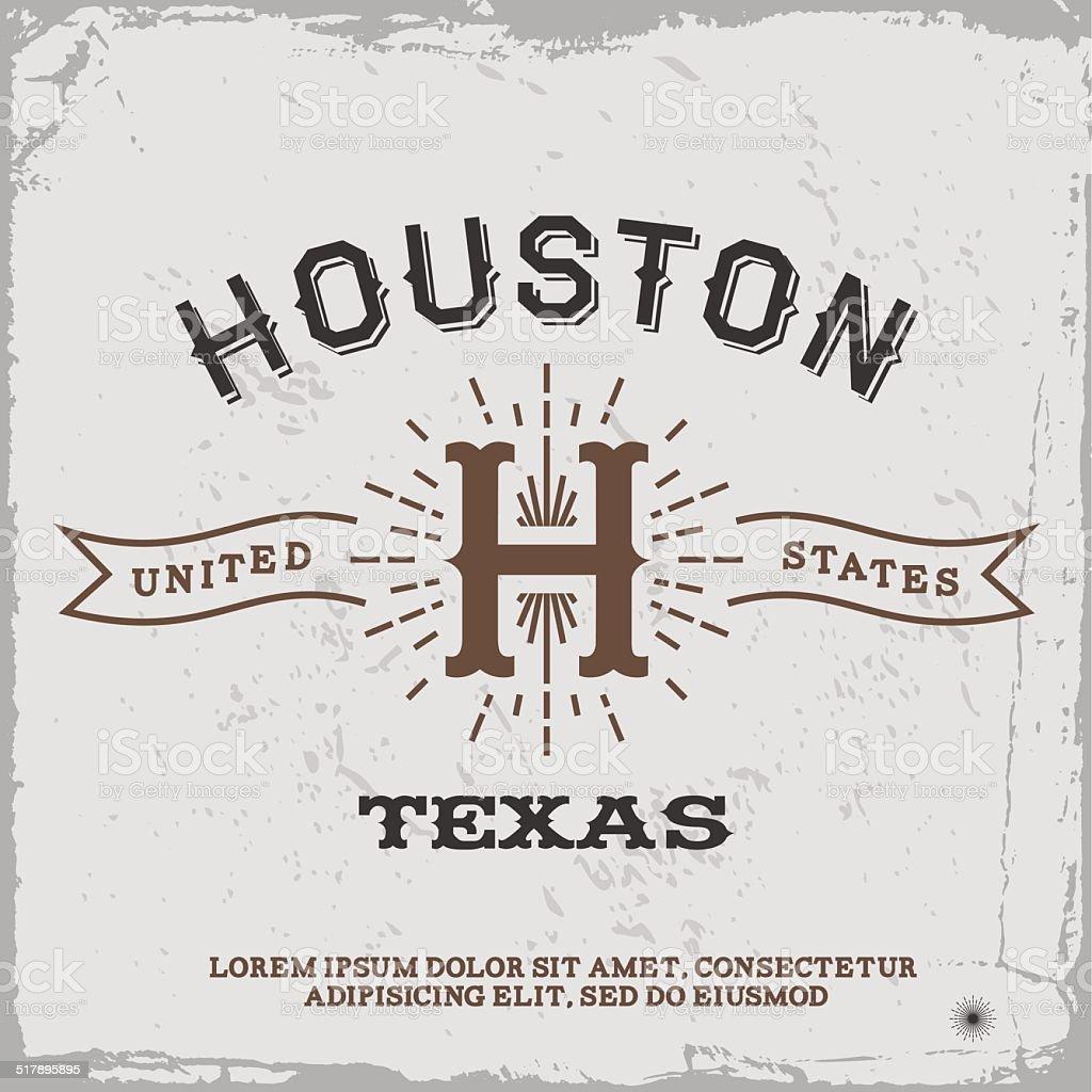 vintage label Houston vector art illustration