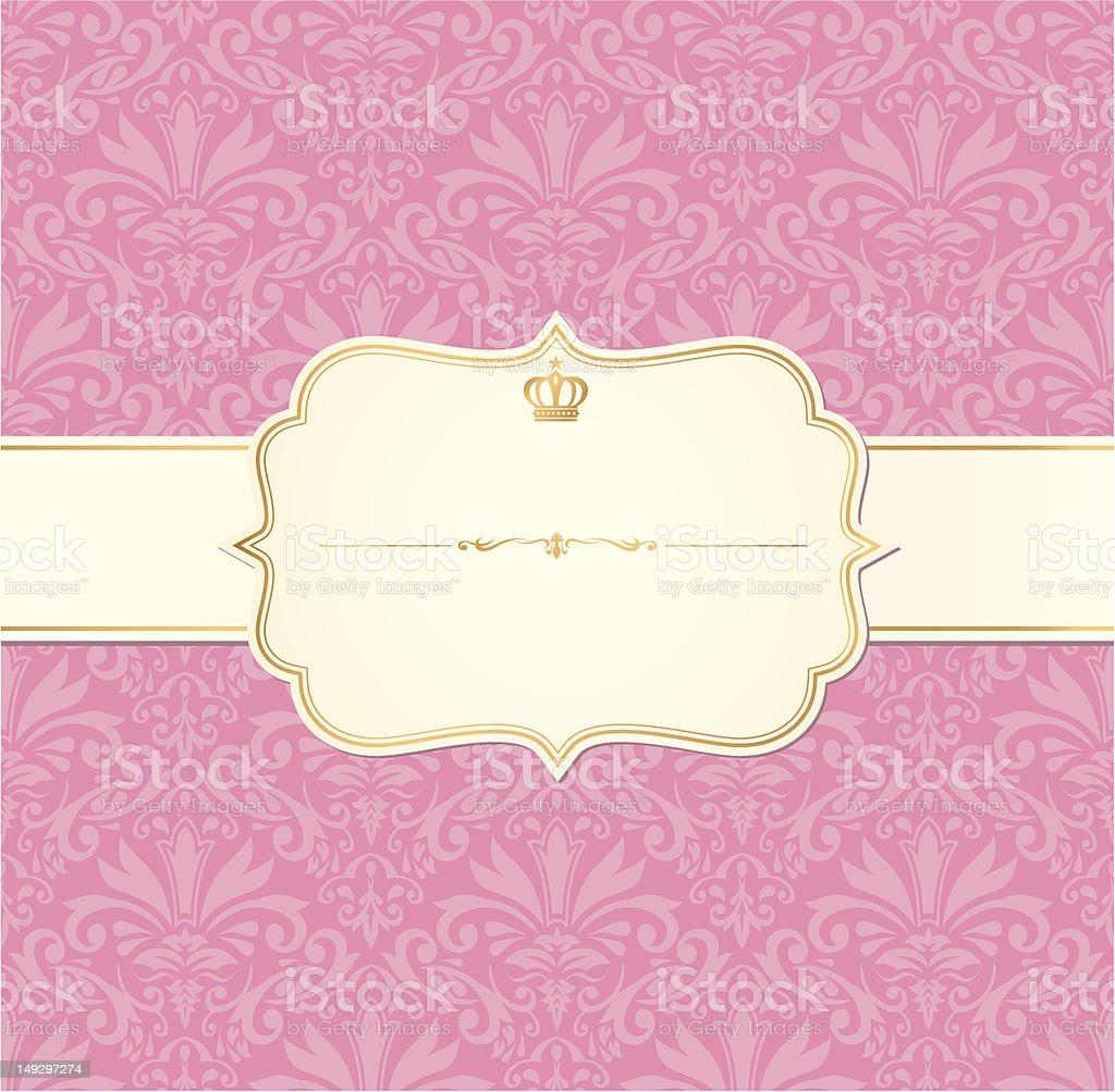 vintage label invitation vector frame pink royalty-free stock vector art