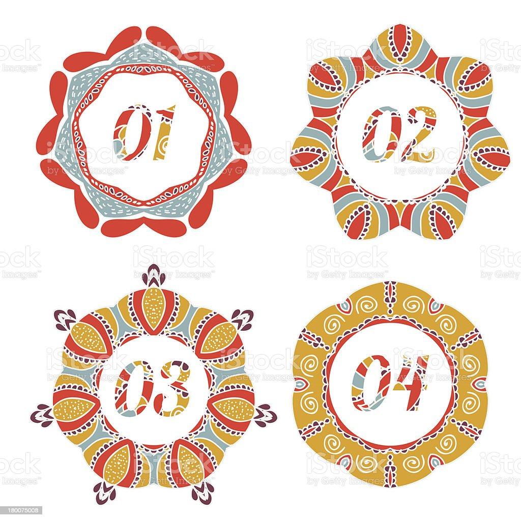 Vintage label options with floral design royalty-free stock vector art