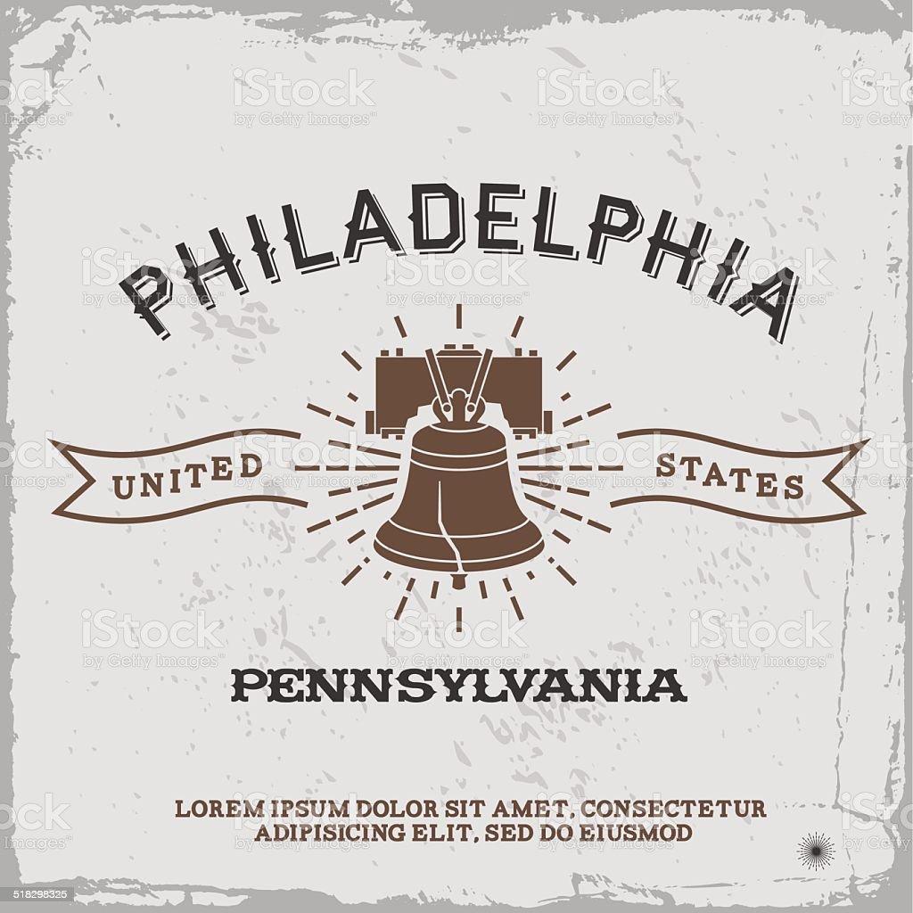 vintage label Philadelphia vector art illustration