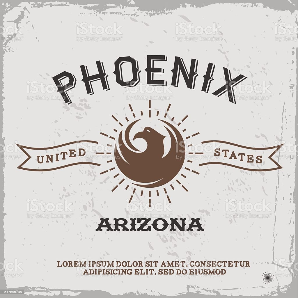 vintage label Phoenix vector art illustration