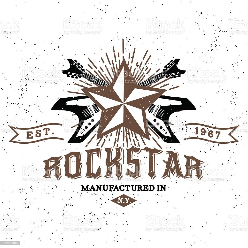 vintage label rockstar vector art illustration