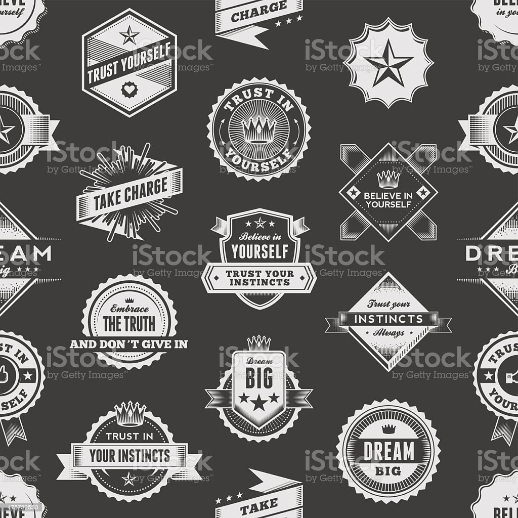 Vintage Label Seamless Pattern vector art illustration