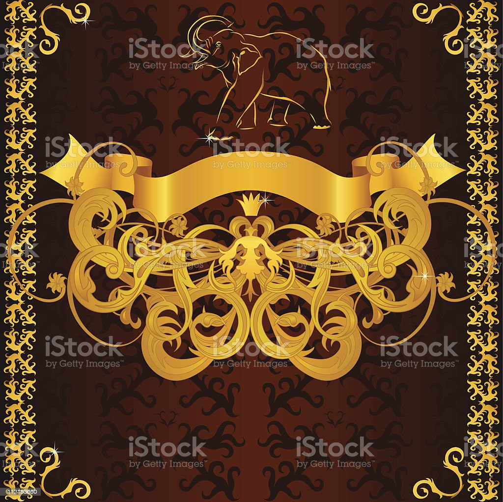 Vintage label with golden elephant, banner, border and floral pattern royalty-free stock vector art
