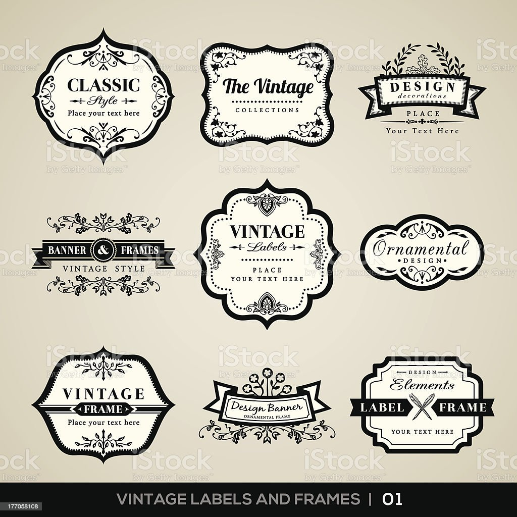 Vintage labels and frames royalty-free stock vector art