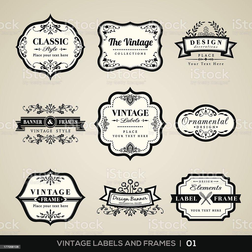 Vintage labels and frames vector art illustration