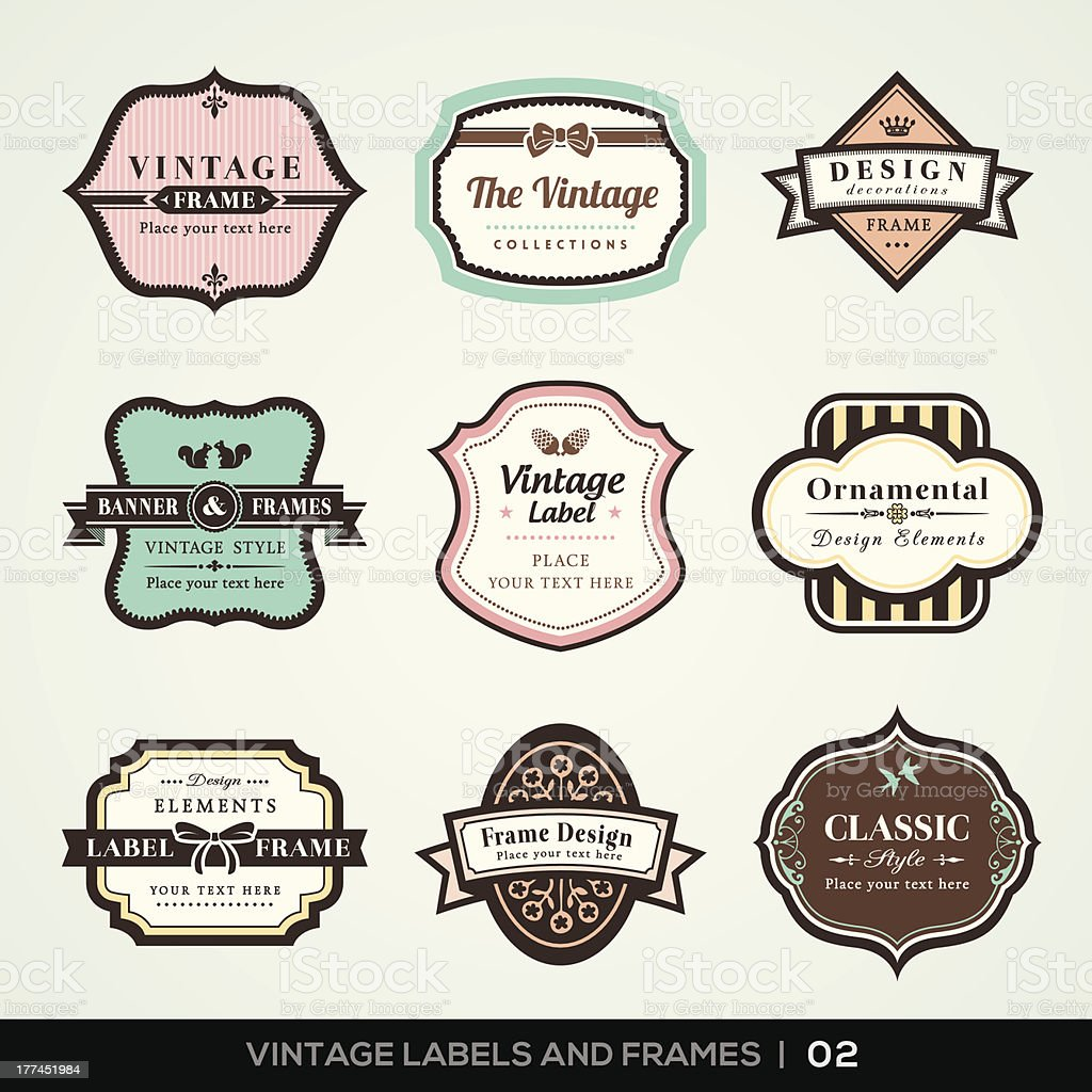 Vintage labels and frames vector art illustration