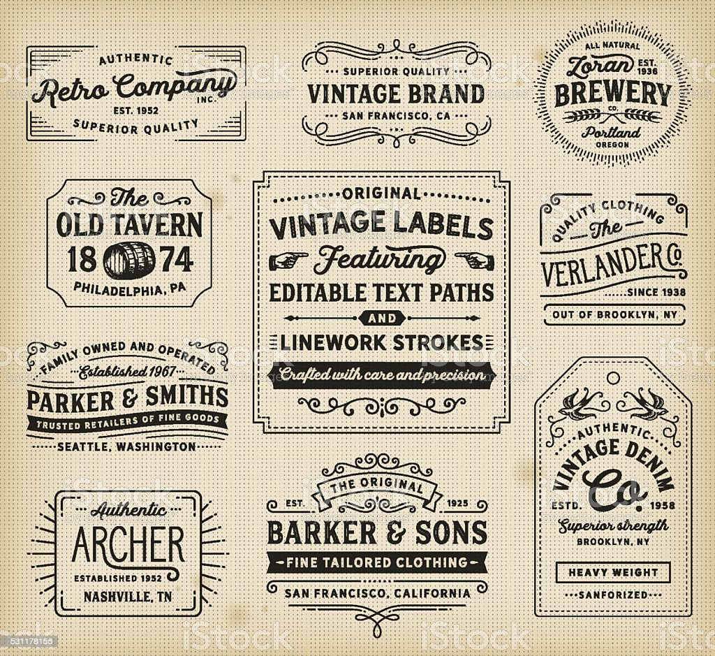 Vintage Labels and Signs vector art illustration