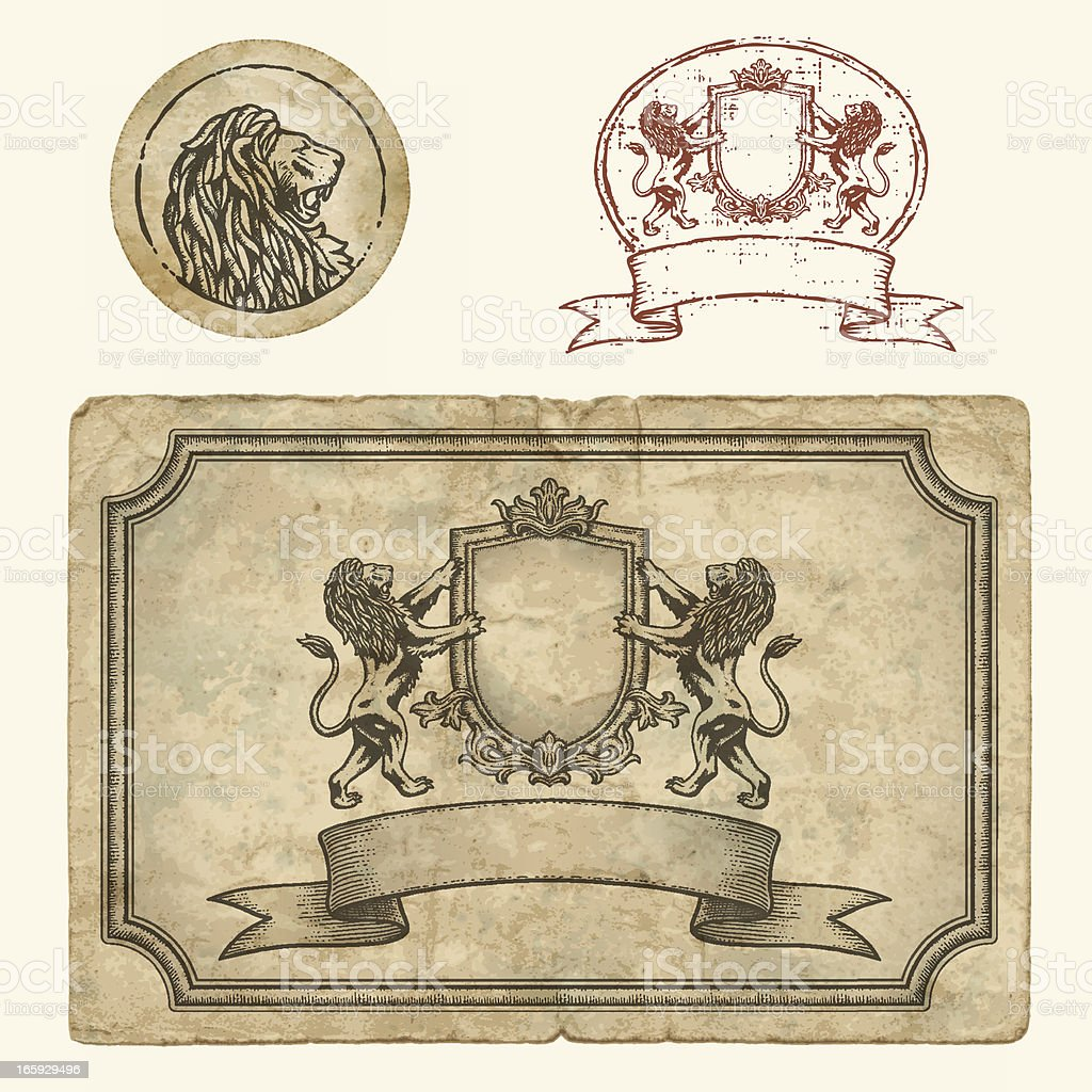Vintage Labels and Stamp with Lions royalty-free stock vector art