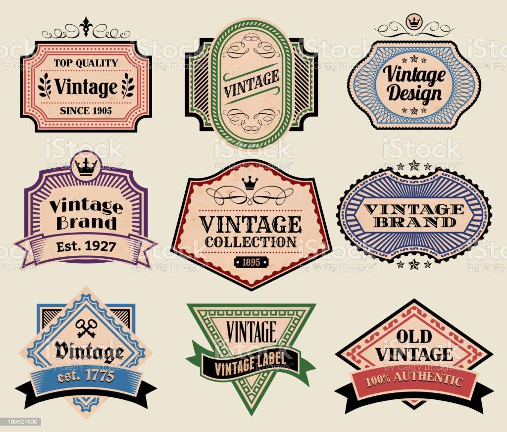 Vintage Labels Badges Set on Old Paper royalty-free stock vector art