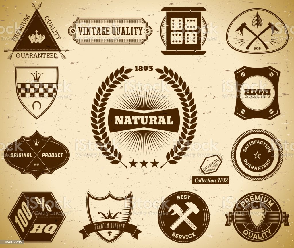 Vintage labels. Collection 12 royalty-free stock vector art