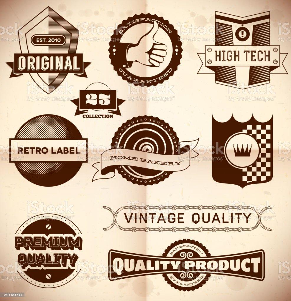 Vintage labels. Collection 23 vector art illustration