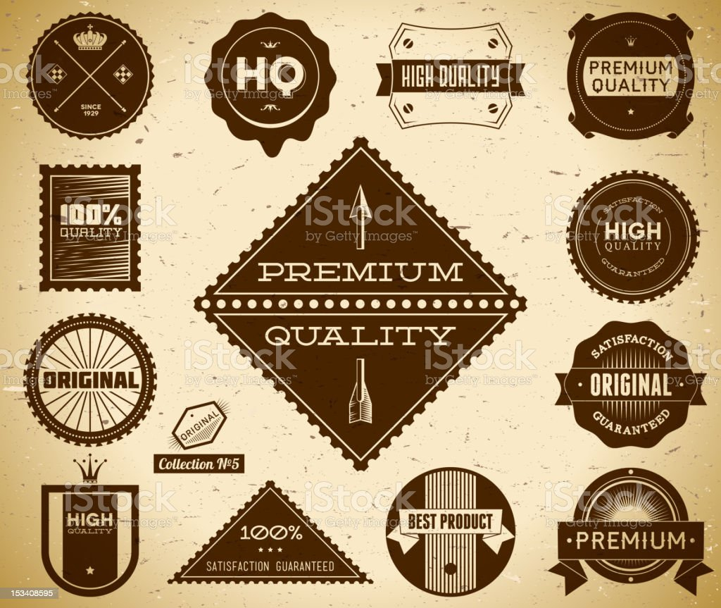 Vintage labels. Collection 5 royalty-free stock vector art
