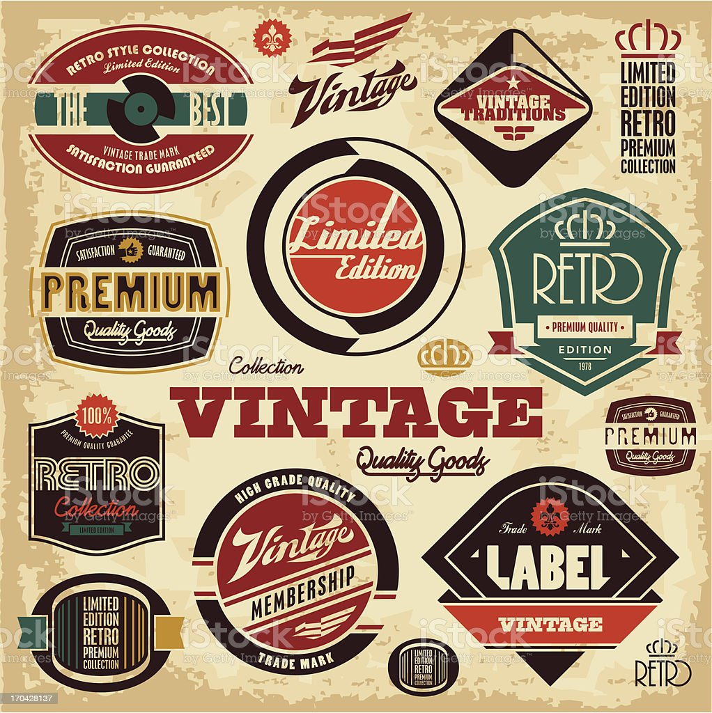 Vintage labels collection vector art illustration