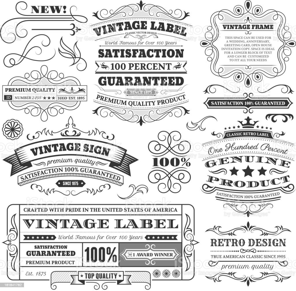Vintage Labels, Frames and Design Elements with Copy Space royalty-free stock vector art