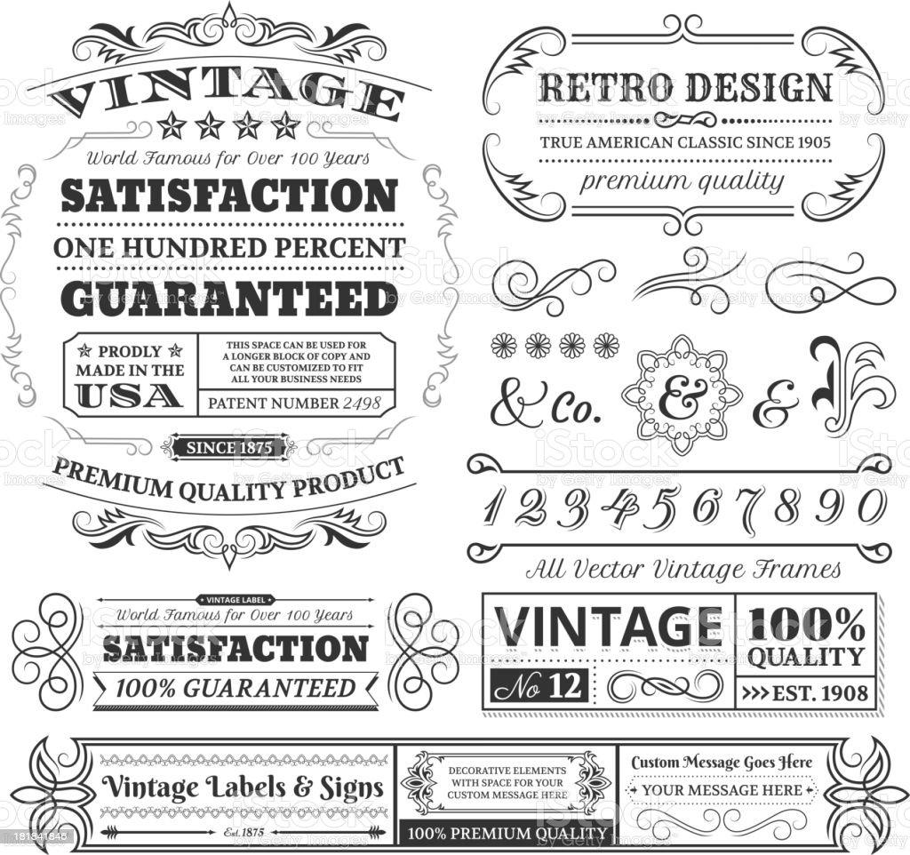 Vintage labels, frames and designs on white space vector art illustration