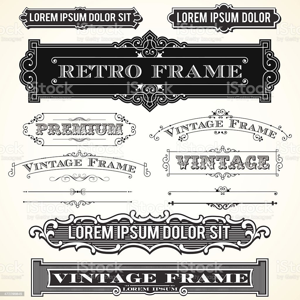 Vintage Labels, Frames and Ornaments vector art illustration