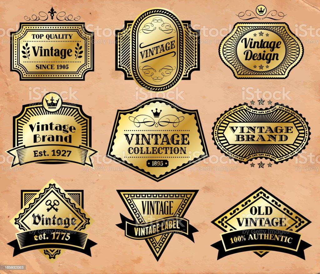 Vintage Labels Gold Badges Set on Old Paper royalty-free stock vector art