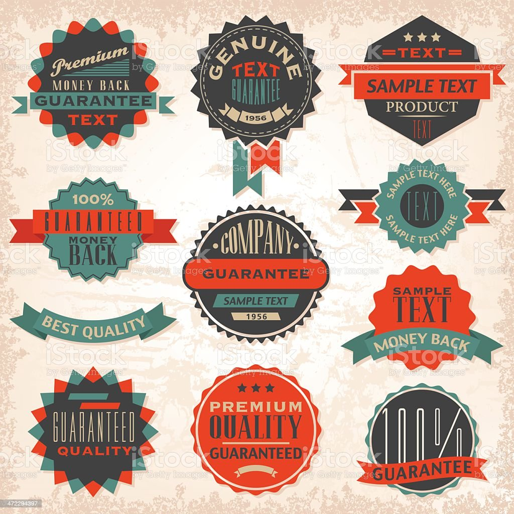 Vintage labels in black, blue, and red royalty-free stock vector art